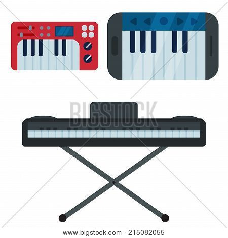 Keyboard musical instruments isolated classical melody studio acoustic shiny musician equipment and orchestra piano composer electronic sound vector tool. Classic song chord concert entertainment. poster