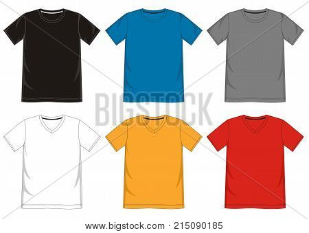 T Shirt Template V-neck R-nec...