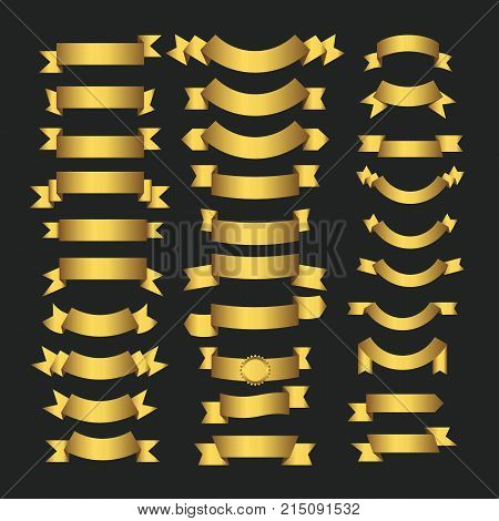 Golden ribbons and gold award banners set on black background. Set of yellow ribbon banner illustration of golden blank ribbon decoration for design