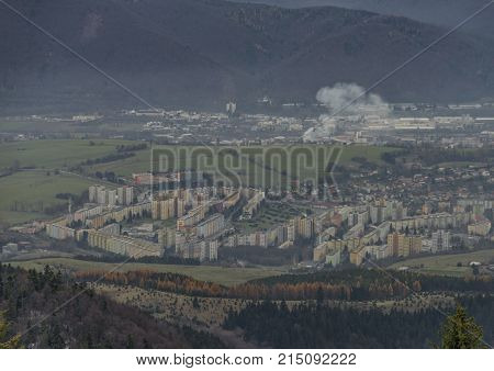 Housing estate Sasova part of Banska Bystrica city in autumn cloudy day