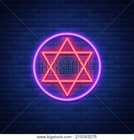 Star of David, neon sign. The symbol of Judaism. Vector illustration.