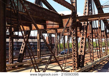Rusty Old Steel Bridge Trusses in Boston