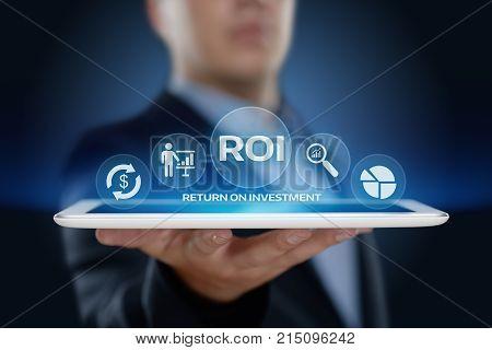 ROI Return on Investment Finance Profit Success Internet Business Technology Concept.
