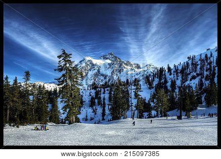 Mount Shuksan, near Bellingham, WA, creates a nice view while skiing.