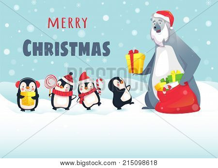 Merry Christmas with cute animals. Polar Bear Gives Christmas Gifts to Penguins. Greeting card vector illustration.