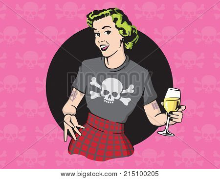 Retro Style Punk Rock Housewife Vector Design Retro housewife illustration wearing punk rock clothes and drinking wine on skull and cross bones background.