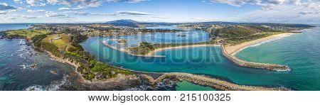 Aerial panorama of beautiful coastal town Narooma NSW Australia