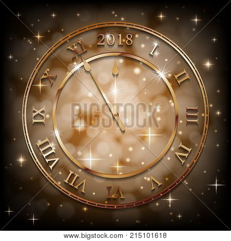 New Year 2018 gold background with bronze old clock. Greetings banner with sepia background. Vector illustration EPS 10