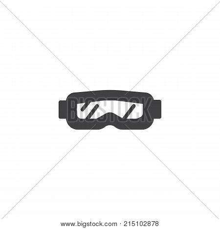 Snow glasses icon vector, filled flat sign, solid pictogram isolated on white. Protective goggles symbol, logo illustration.