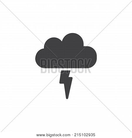 Lightning, thunderstorm cloud icon vector, filled flat sign, solid pictogram isolated on white. Cloud with light flash symbol, logo illustration.