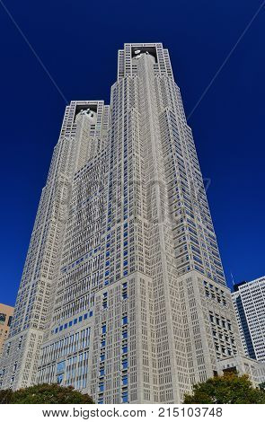 TOKYO, JAPAN - NOVEMBER 4: Tokyo Metropolitan Government Building knows as Tocho built in 1990 in Shinjuku district and designed by famous japanese architect Kenzo Tange NOVEMBER 4, 2017 in Tokyo, Japan
