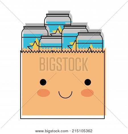 kawaii paper bag with canned beers in watercolor silhouette vector illustration