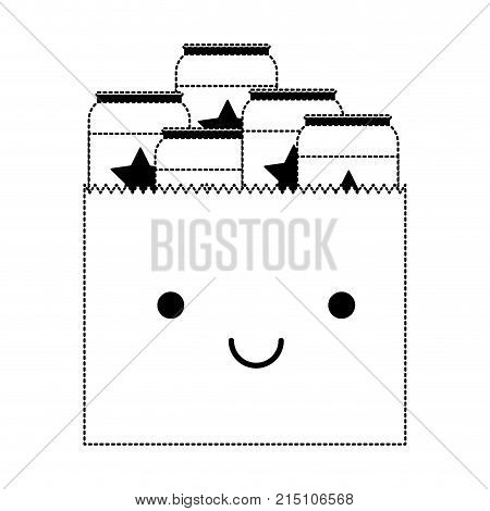 kawaii paper bag with canned beers in black dotted silhouette vector illustration