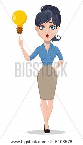 Business woman with a brilliant idea. Beautiful businesswoman in formal clothes standing straight. Cute cartoon character. Vector illustration.