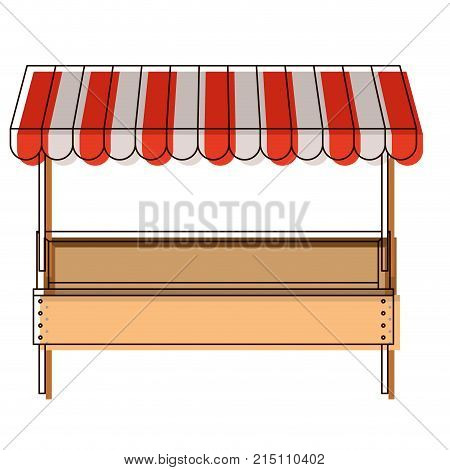 supermarket shelf with big storage of one level and sunshade in watercolor silhouette vector illustration