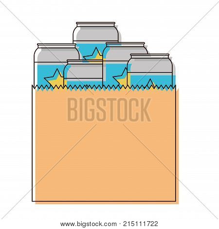 paper bag with canned beers in watercolor silhouette vector illustration