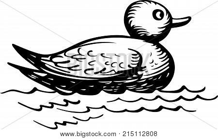 Toy duck in the water, black on white