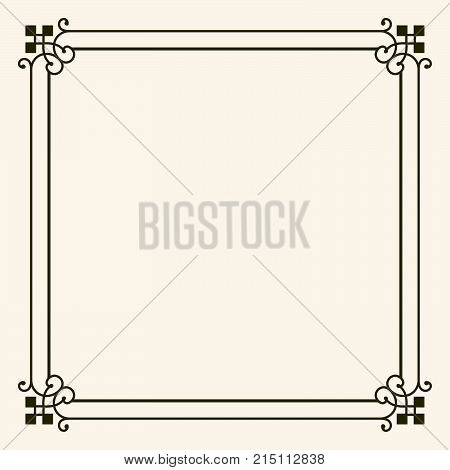 Simple vintage square frame with decorative corners