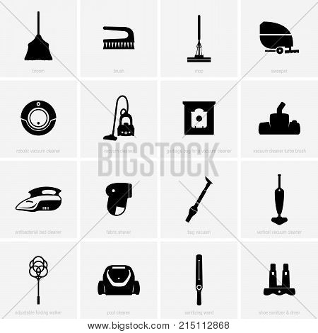 Set of cleaning tools and devices, shade pictures