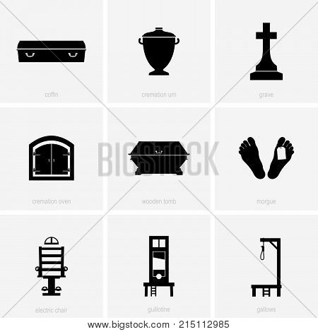 Set of nine death icons, shade pictures
