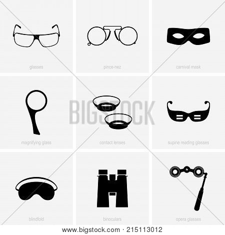Set of optical and eye care devices