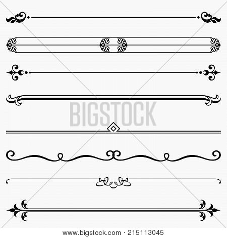 Set of eight decorative floral elements, dividers