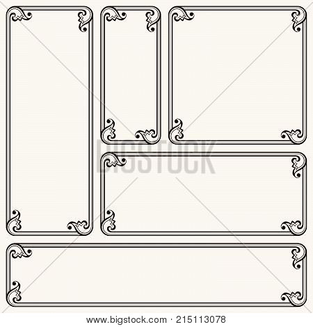 Set of decorative frames in different proportions
