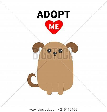 Adopt me. Dont buy. Dog face. Pet adoption. Puppy pooch. Red heart. Flat design style. Help homeless animal concept. Cute cartoon funny character. White background. Isolated. Vector illustration