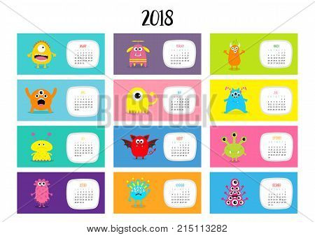 Monster horizontal monthly calendar 2018. Cute funny cartoon character set. All month. Flat design. Vector illustration