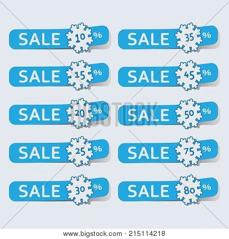 Stickers with snowflakes. Sale. Discount special characters. 10%, 30%, 50%, 70%, and so on. Selling index tags to pointers.