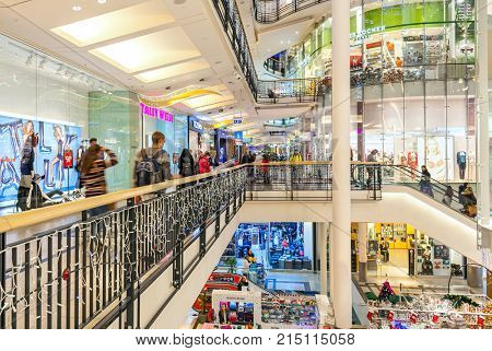 PRAGUE, CZECH REPUBLIC - DECEMBER 10, 2015: Palladium shopping center decorated for Christmas holidays - one of the most popular malls in Prague, has 5 floors, 184 shops and 23 restaurants.