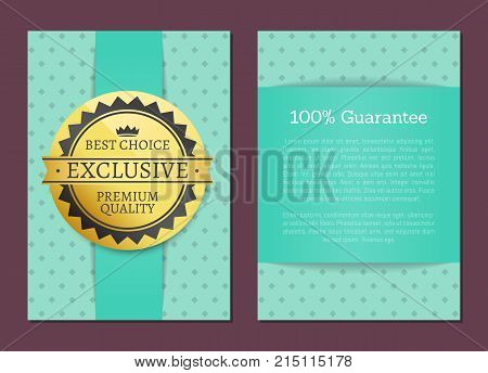 Best choice and 100 guarantee collection of posters with light blue square dot backdrop. Isolated vector illustration of round golden label with text