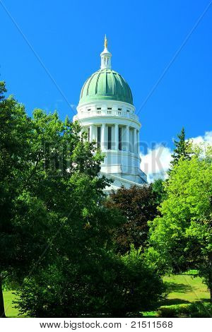 Maine Capitol Dome Against Blue Sky