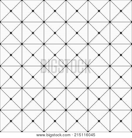Vector seamless pattern. Geometric background with rectangles. Dots connected with lines. Modern stylish texture. Repeating geometric tiles.