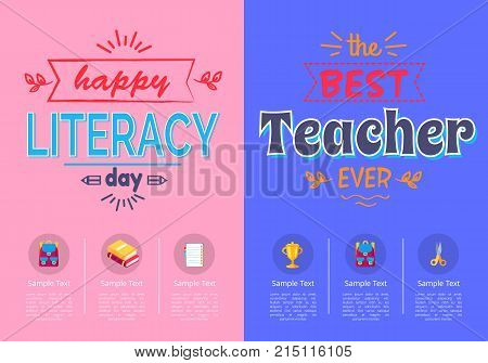 Two posters on school theme, literacy day and best teacher award with sample text isolated on pink and blue backgrounds vector illustration