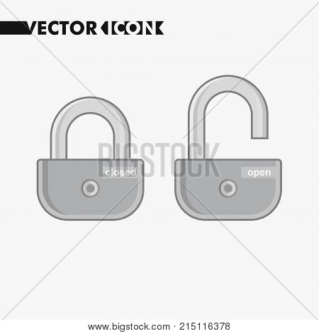 Open and close lock buttons and icons. Security lock symbol for your web site design, lock logo, app, UI. Vector.
