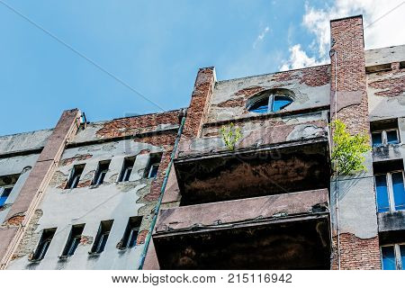 Dilapidated tenement built in the style of Functionalism in Katowice Silesia region Poland.