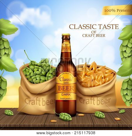 Brand labeled brown glass bottle with dark beer stand on wooden table with sacks of barley ears and hops, vector realistic illustration. Poster template for classic craft beer, ad package design