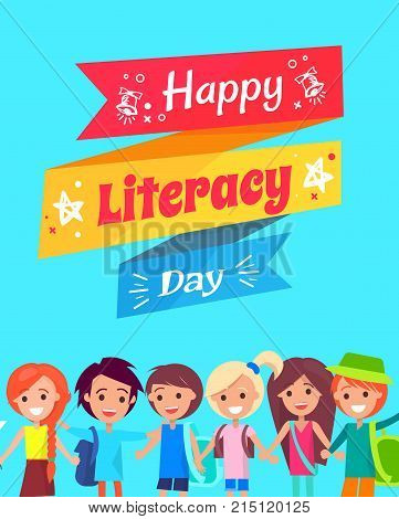 Happy Literacy Day wish on multicolored fancy doodle. Background of vector illustration is light blue, kids under text wave smiling