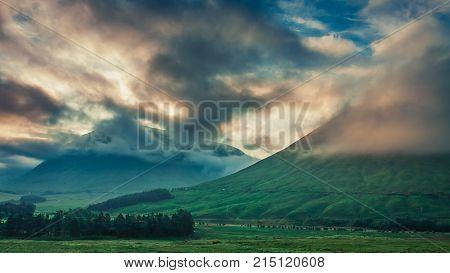 Dawn Over The Mountains Of Glencoe, Scotland