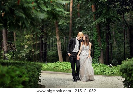 bride and groom newlyweds beautiful wedding couple Bride and groom at wedding Day walking Outdoors on spring nature. Bridal couple, Happy Newlywed woman and man embracing in green park.
