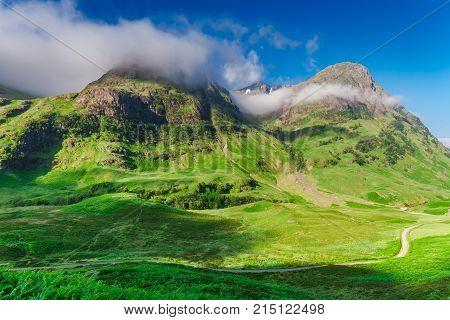 Sunrise At Mountains Of Green Glencoe, Scotland