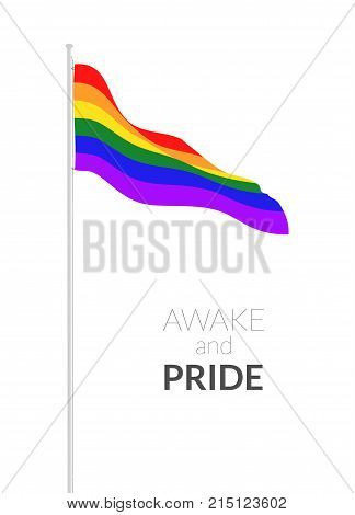 Awake and pride card template with rainbow colored flag