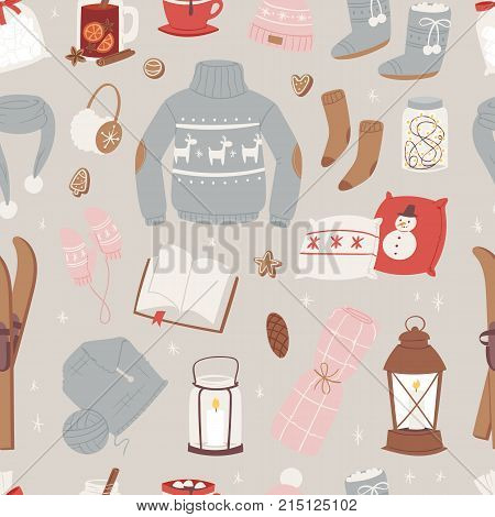 Vector winter clothes warm set of hat, scarf, sweater, gloves fashion clothing style sweater design clothing wintertime collection seamless pattern background.