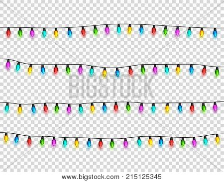 Christmas glowing lights on transparent background. Garlands with colored bulbs. Xmas holidays. Christmas greeting card design element. New year, winter.