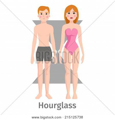 Vector illustration hourglass body shape types. Characters standing beauty figure cartoon model. Graphic inverted proportions adult constitution.