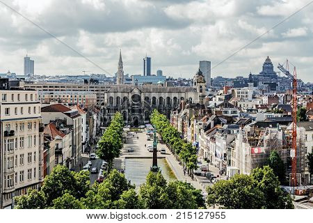 BRUSSELS - JUNE 16 2017: Panoramic view of the City of Brussels. Brussels is the capital of Belgium and the seat of the authorities of the European Community.