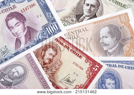 Old Chilean money, a background with Chilean Escudos