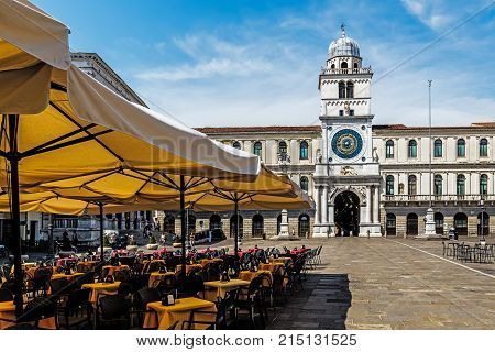 PADUA ,ITALY - August 6, 2017: Piazza dei Signori, a 14th-century square whose name refers to the Carraresi family who ruled the city in the 12th to 15th centuries as the so-called Signori of Padua.