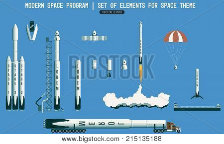 Set of elements for space subject. modern space program. rocket launch vehicle satellite launch pad payload. Flight stages in space. Landing of a rocket on the platform in the ocean. Transportation of the launch vehicle to start. Launch pad spaceport.